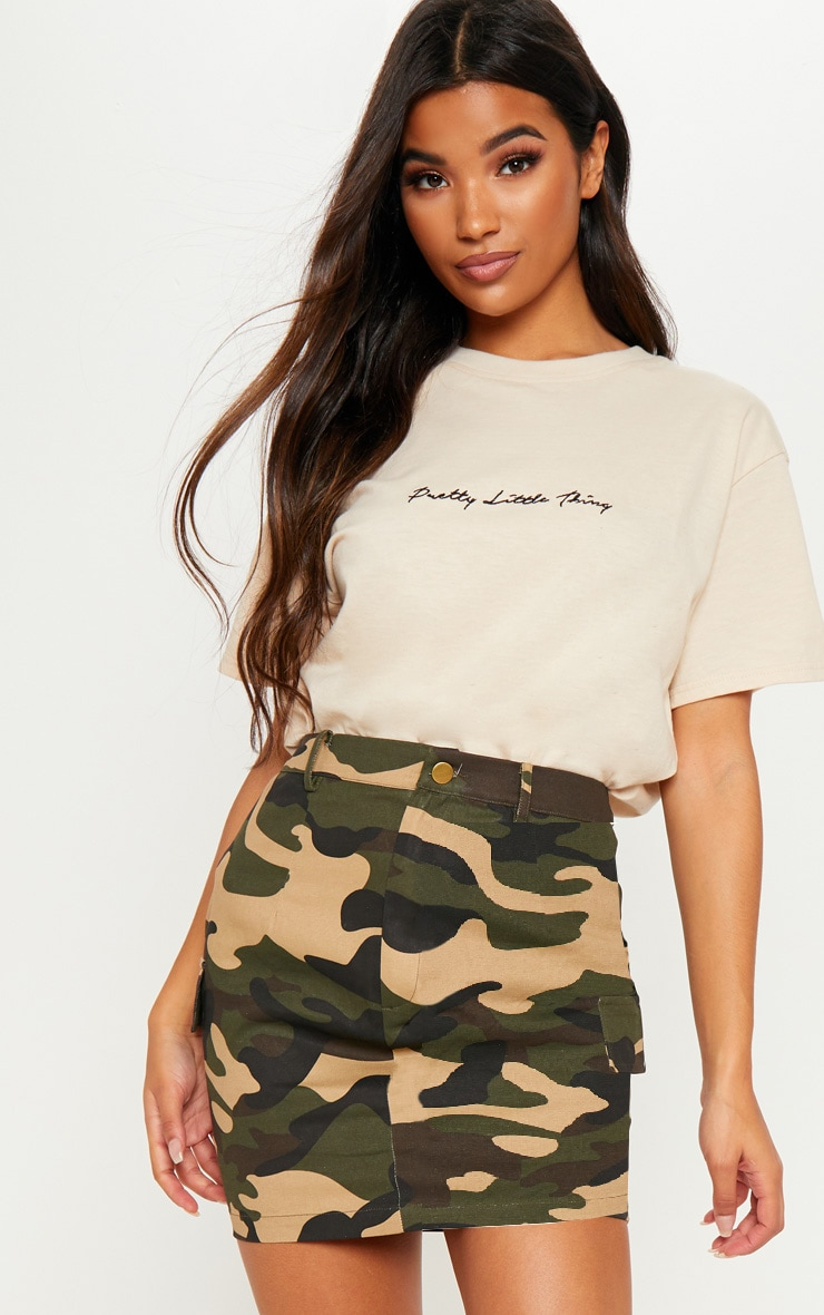 Chocolate Cargo Camo Mini Skirt