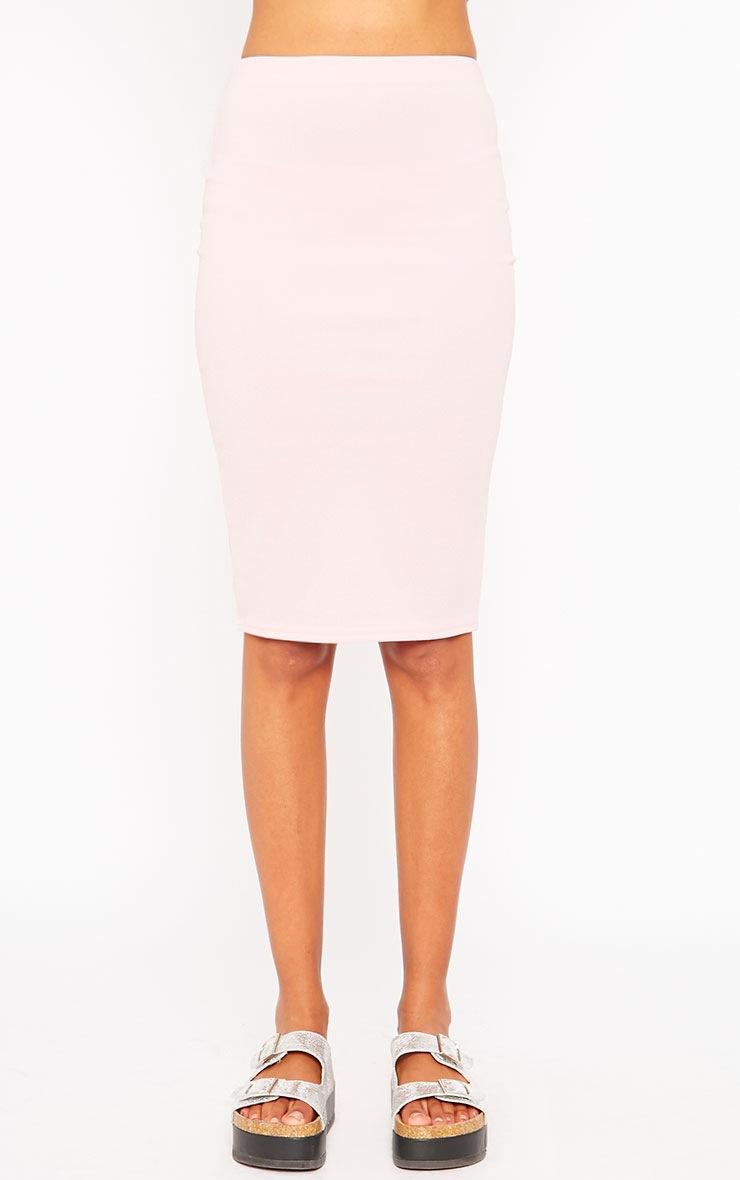 Winnie Baby Pink Scuba Midi Skirt 2