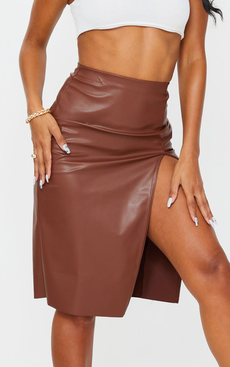 Chocolate Faux Leather Split Detail Midi Skirt 4