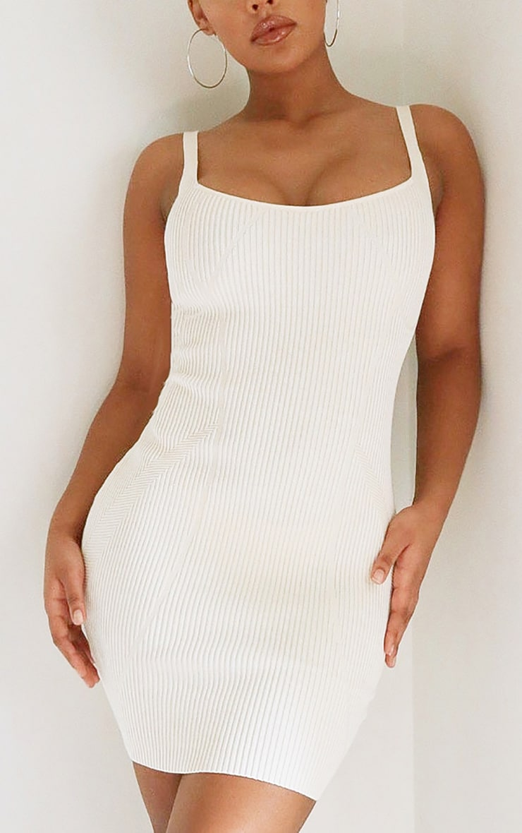 Cream Ribbed Seam Detail Strappy Knitted Dress 4