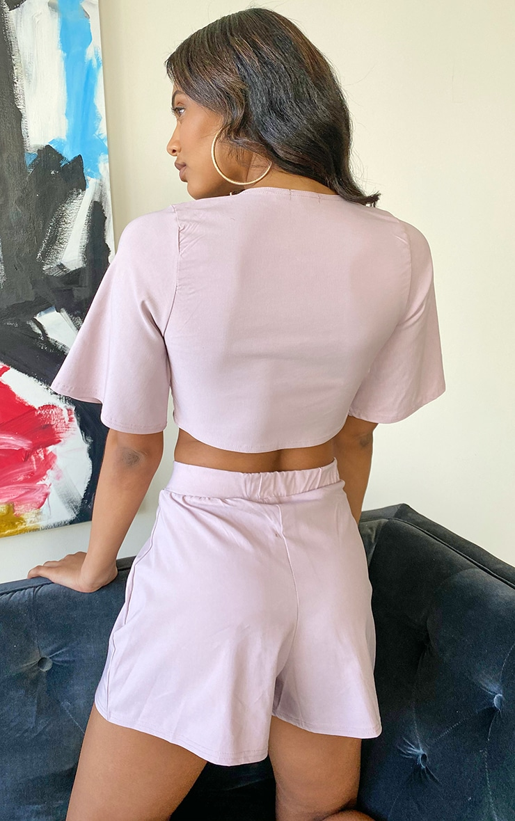 Tall Lilac Tie Front Crop Top 2
