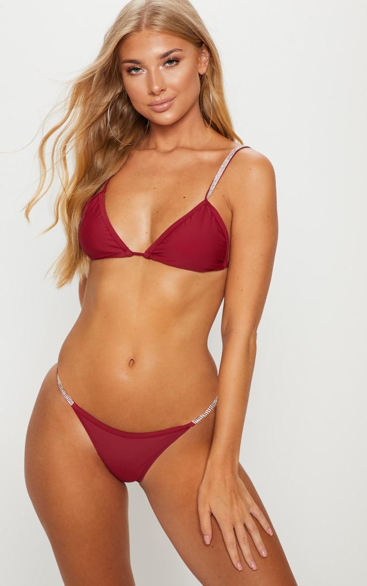 Burgundy Diamante Strap Bikini Bottom 5