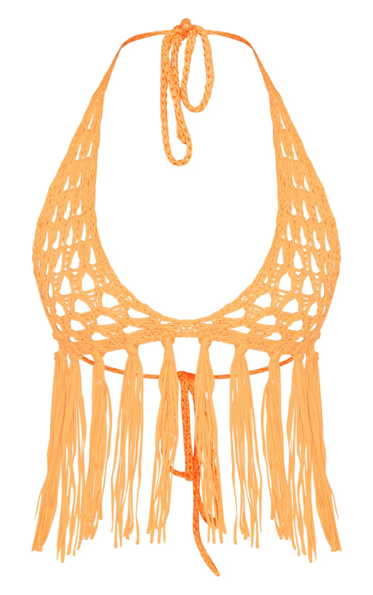 Orange Crochet Knit Bralet 3