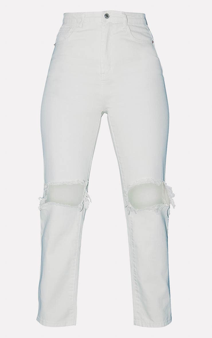 PRETTYLITTLETHING Ecru Knee Rip Straight Leg Jeans 3