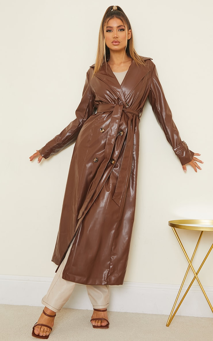 Chocolate Pu Double Breasted Maxi Trench 1