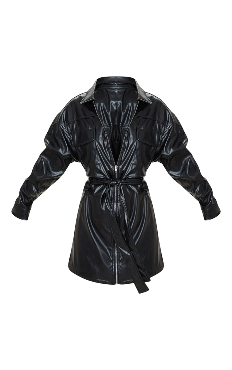 Petite Black Belted PU Jacket Dress 3
