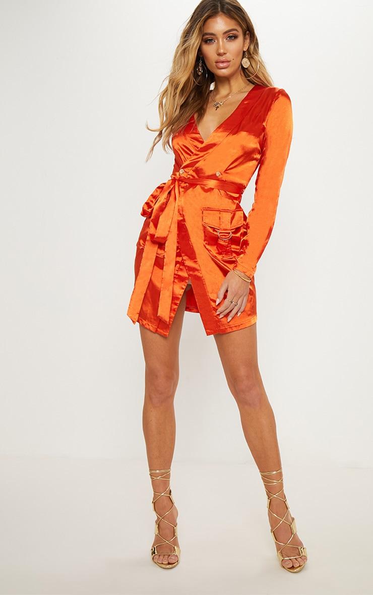 Orange Satin Utility Long Sleeve Bodycon Dress 4