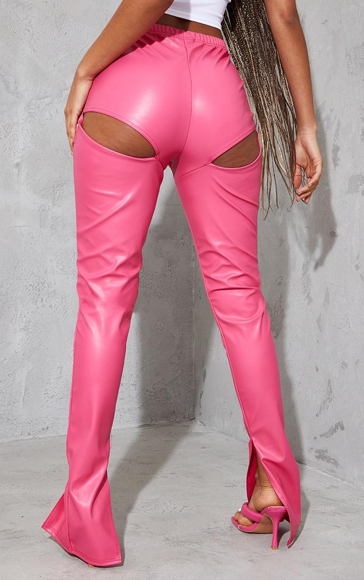 Hot Pink Faux Leather Bum Split Hem Leggings 3