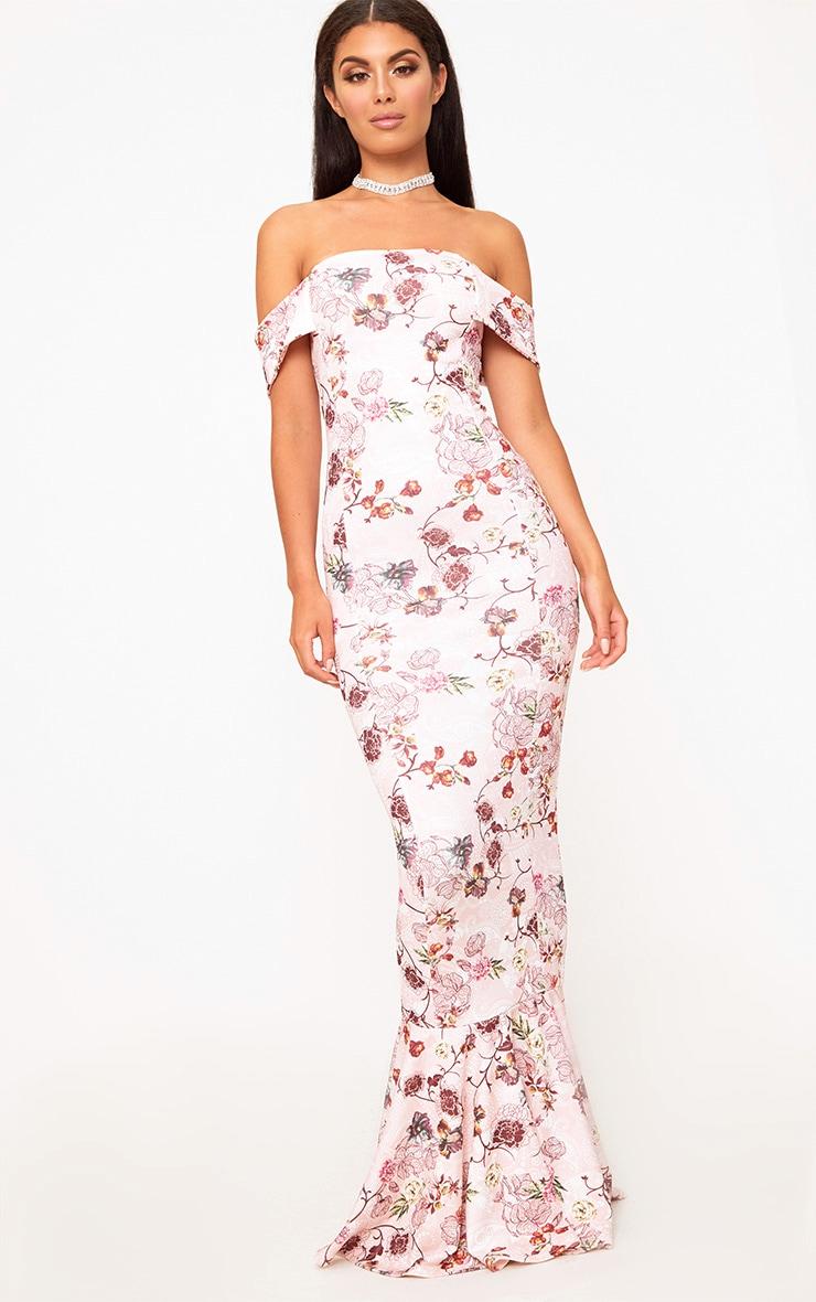 Pink Floral Bardot Frill Hem Maxi Dress 1