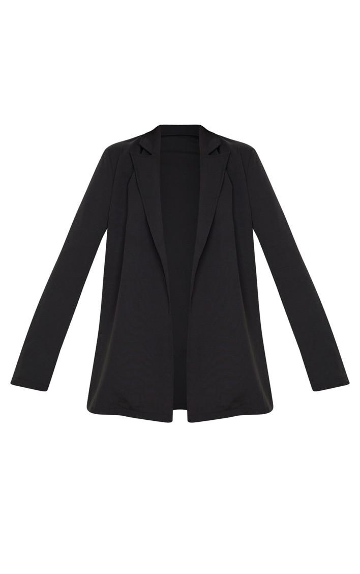 Black Woven Long Sleeve Blazer 4