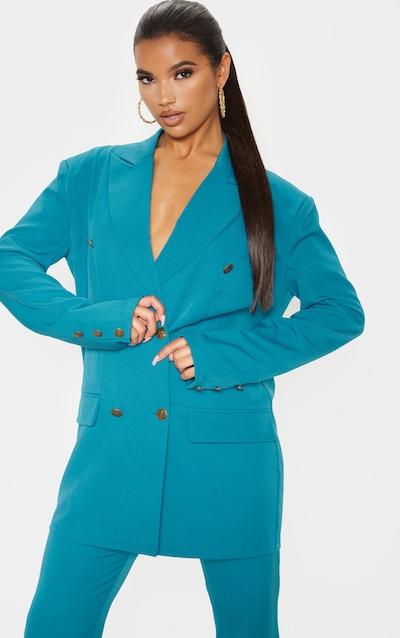 Teal Woven Oversized Longline Button Detail Blazer