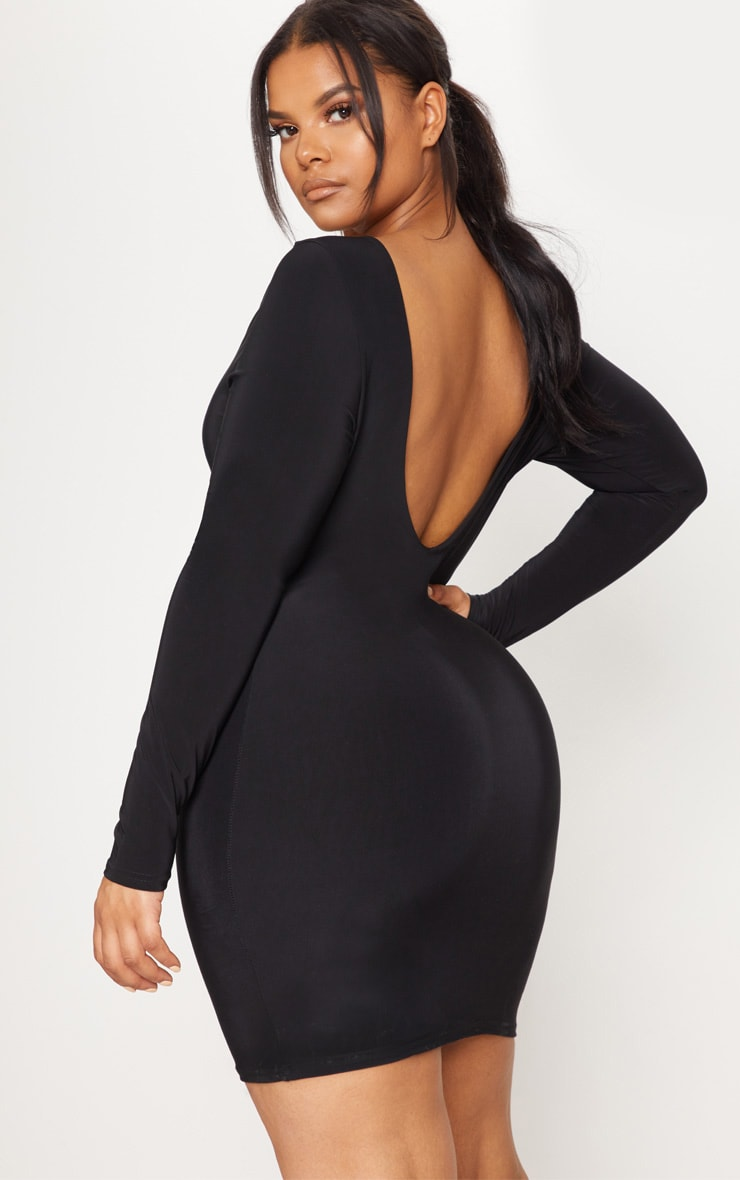 Plus Black Second Skin Slinky Scoop Back Bodycon Dress 1