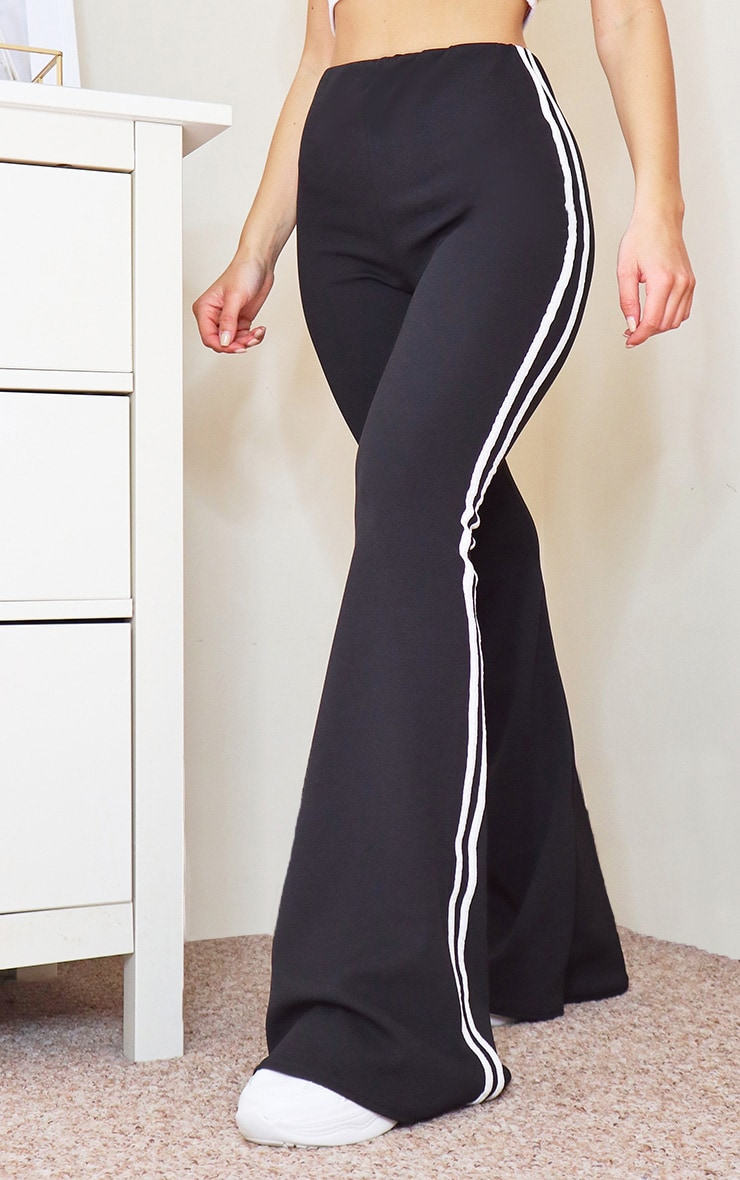 Black Double Side Stripe Flared Pants 2