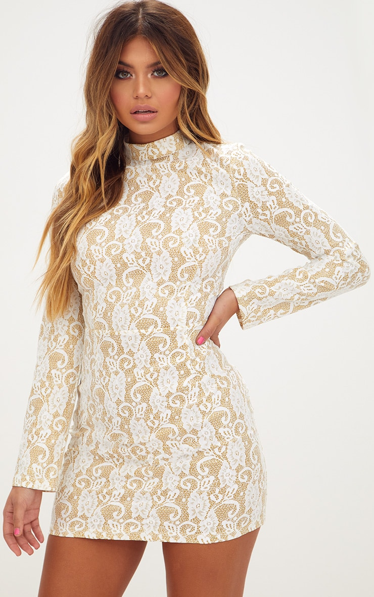 White Glitter Lace High Neck Bodycon Dress  1