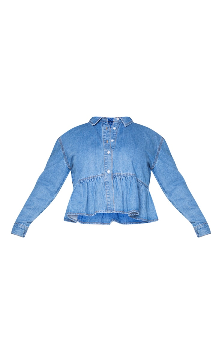 Plus Mid Blue Wash Denim Frill Hem Shirt 5