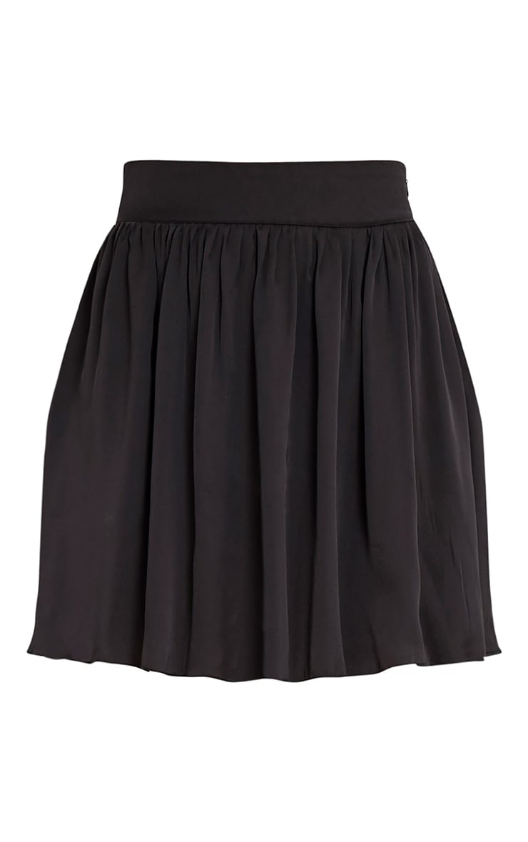 Ostara Black Floaty Satin Mini Skirt 3