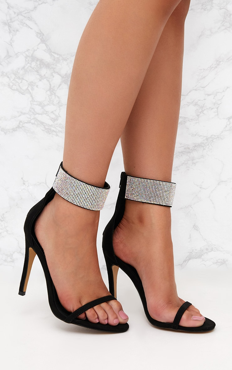 Black Diamante Cuff Heeled Sandals