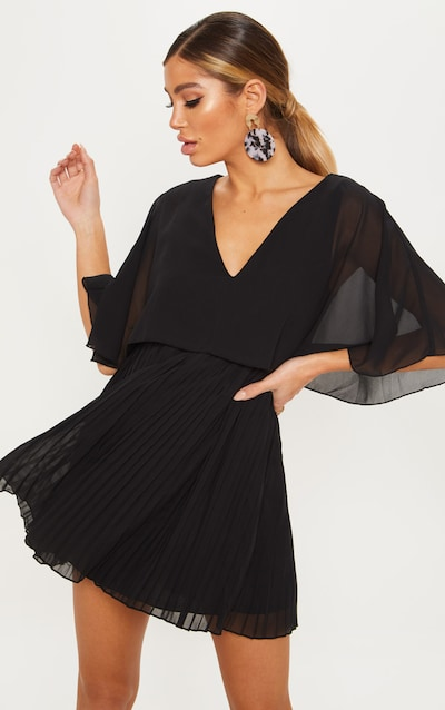81aeb43502 Black Cape Pleated Detail Skater Dress