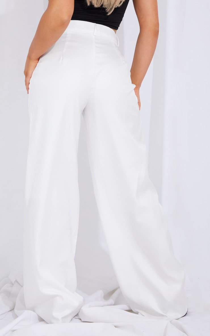 Cream Seam Detail Wide Leg Pants 3