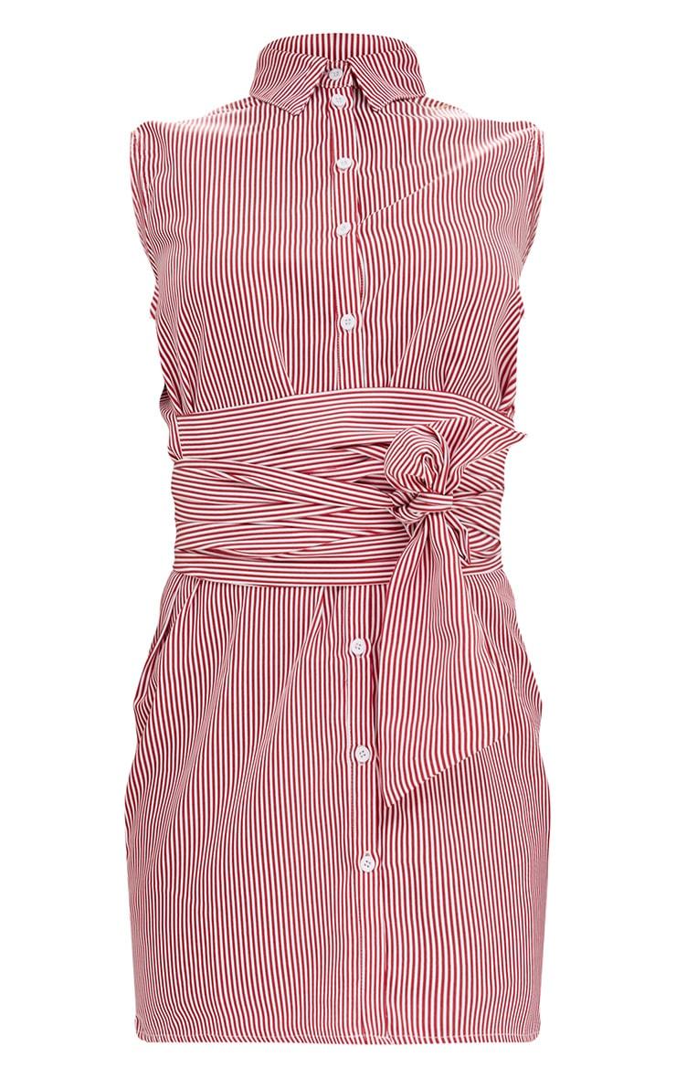 Red Sleeveless Pinstripe Tie Waist Shirt Dress 3