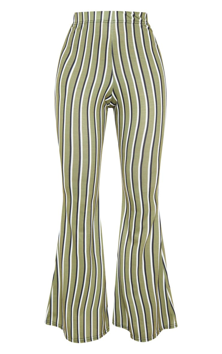 Khaki Jersey Vertical Stripe Flared Trousers 3