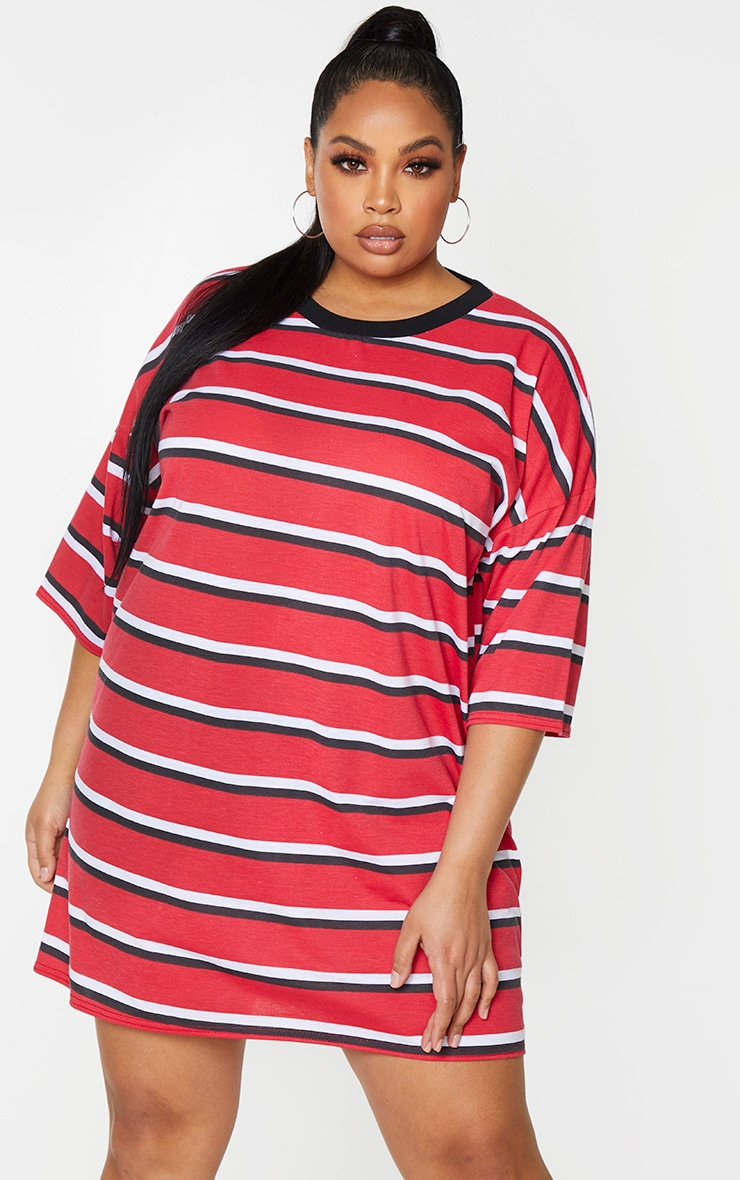 Plus Red Contrast Stripe Oversized Boyfriend T Shirt Dress 1
