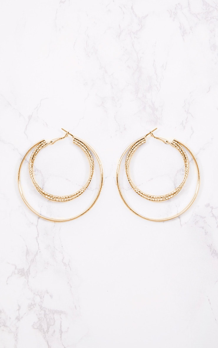 Gold Large Double Hoop Earrings 4