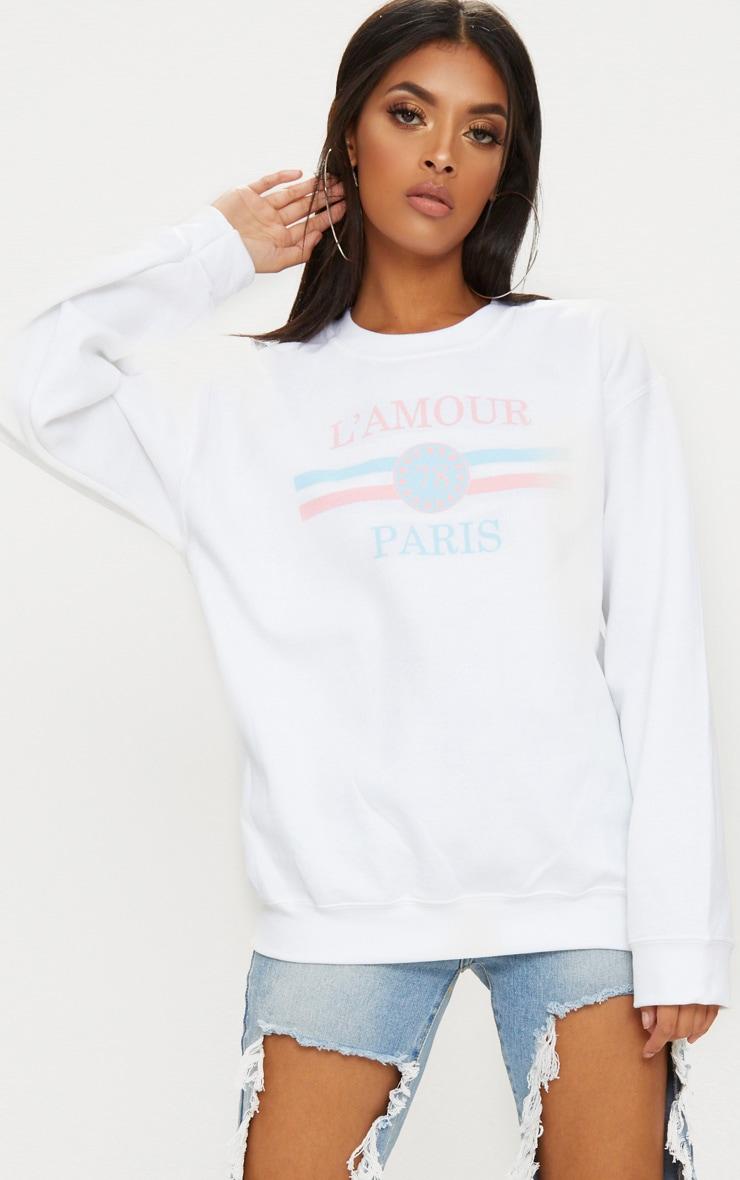 White Lamour Slogan Sweater 1
