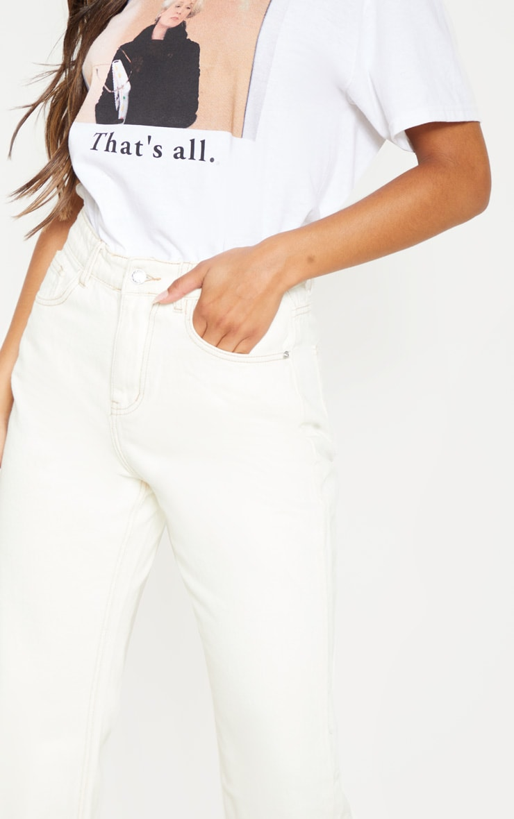 Ecru Straight Leg Cropped Jean 5