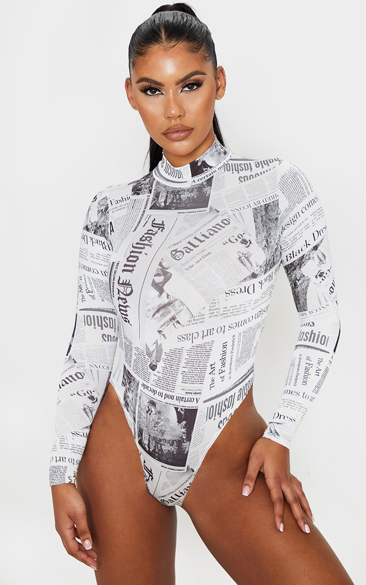 Mono Newspaper Printed High Neck Bodysuit 2