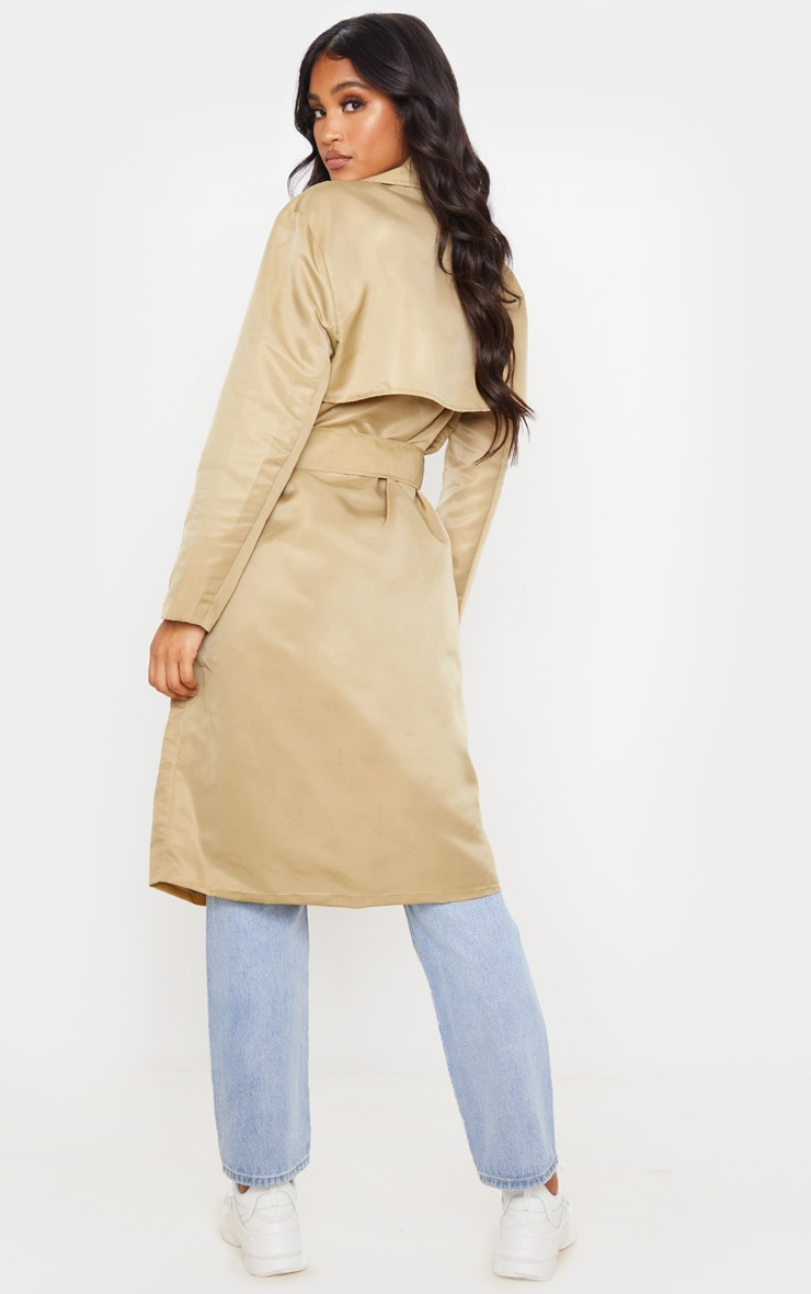 Stone Nylon Belted Trench 2