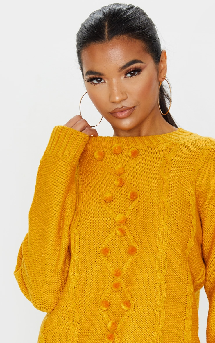 Mustard Pom Pom Detail Cable Knitted Jumper 5