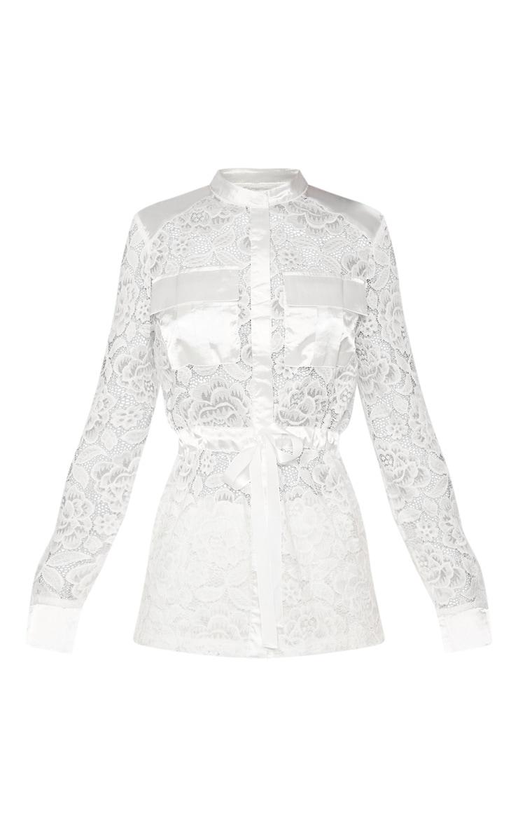 White Lace Military Detail Tie Waist Shirt 3