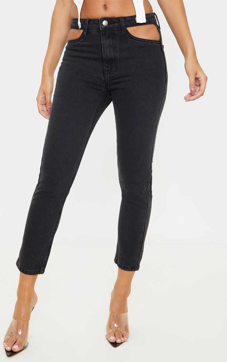 Washed Black Cut Out Waist Straight Leg Jeans 2