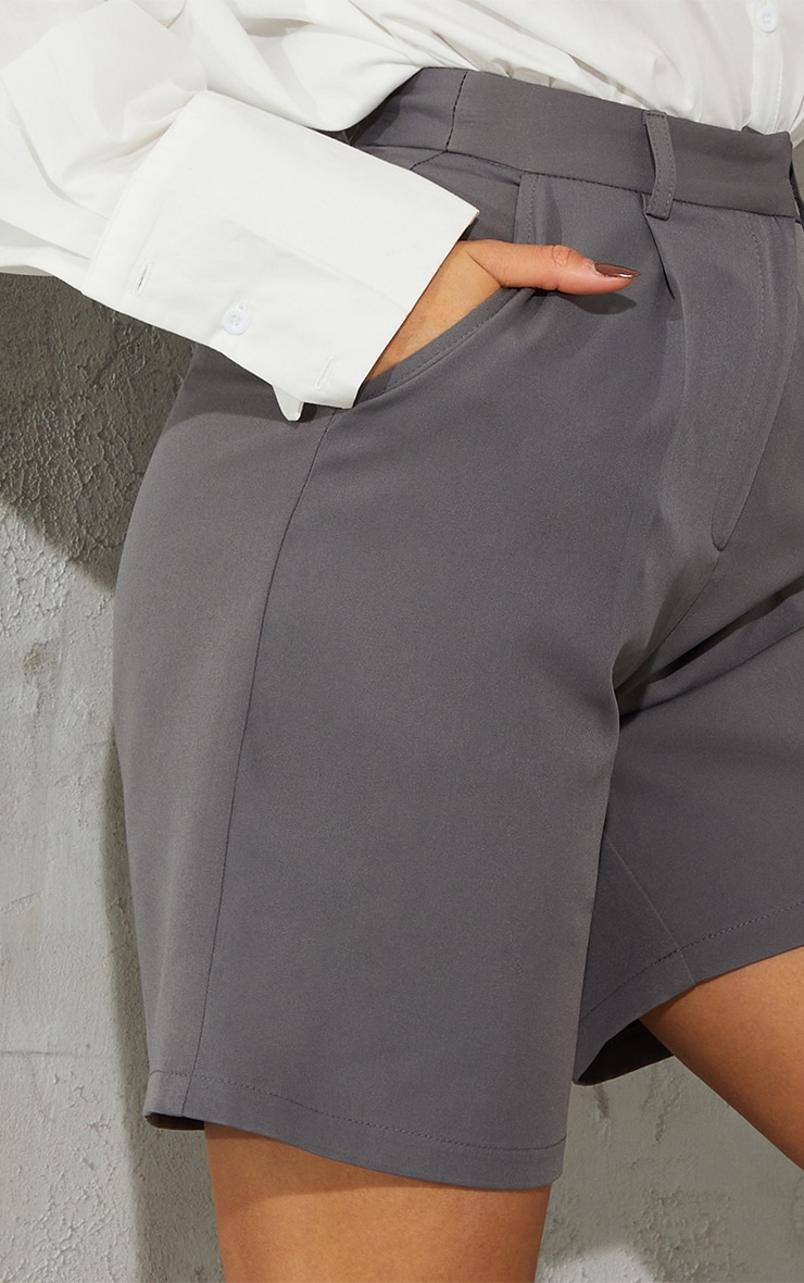 Charcoal Grey Woven Tailored Longline City Shorts 5