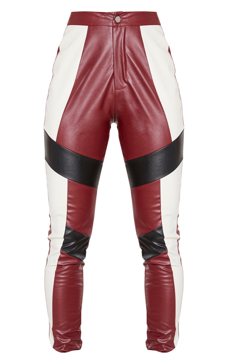 Burgundy Faux Leather Contrast Panel Skinny Trouser 3