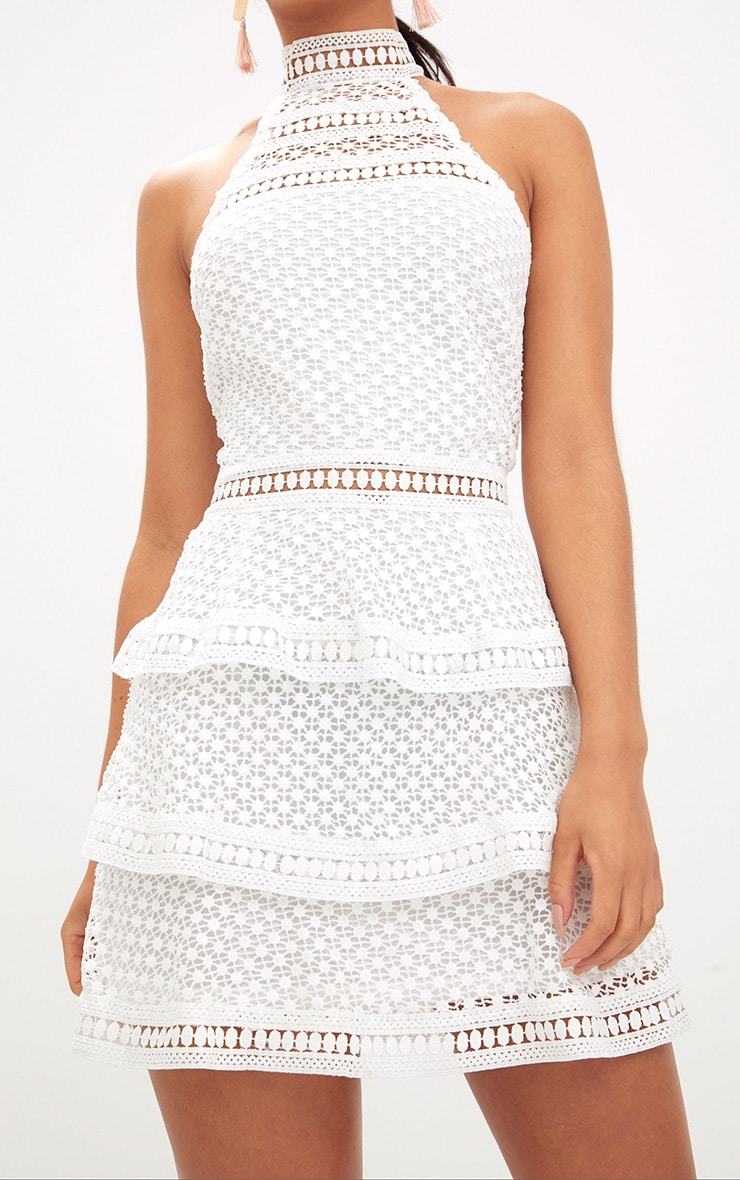 White Lace Panel Tiered Mini Dress 4