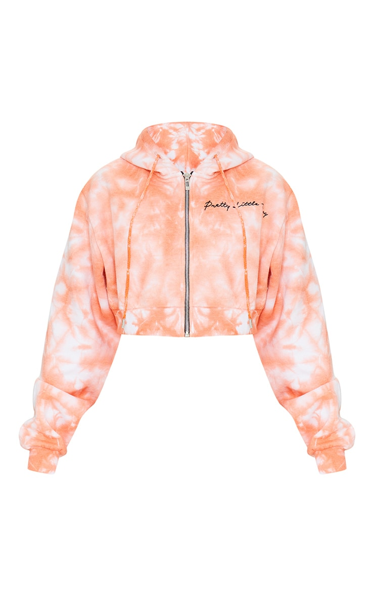 PRETTYLITTLETHING Petite Orange Tie Dye Cropped Embroidered Zip Hoodie 5
