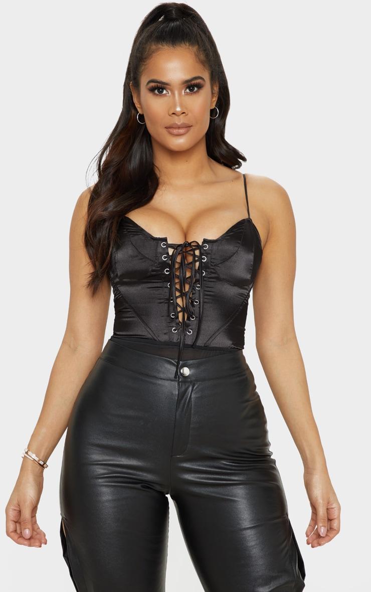 Black Lace Up Satin Bodysuit 1