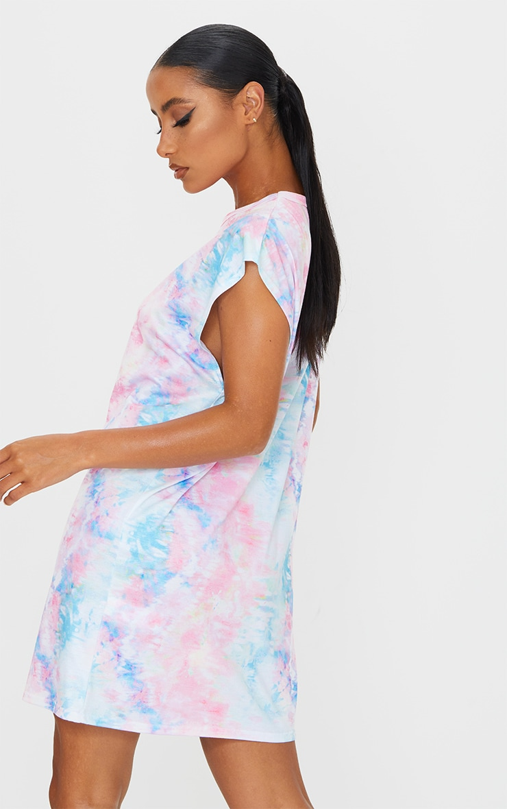 Robe T Shirt Pastel Imprime Tie Dye Prettylittlething Fr