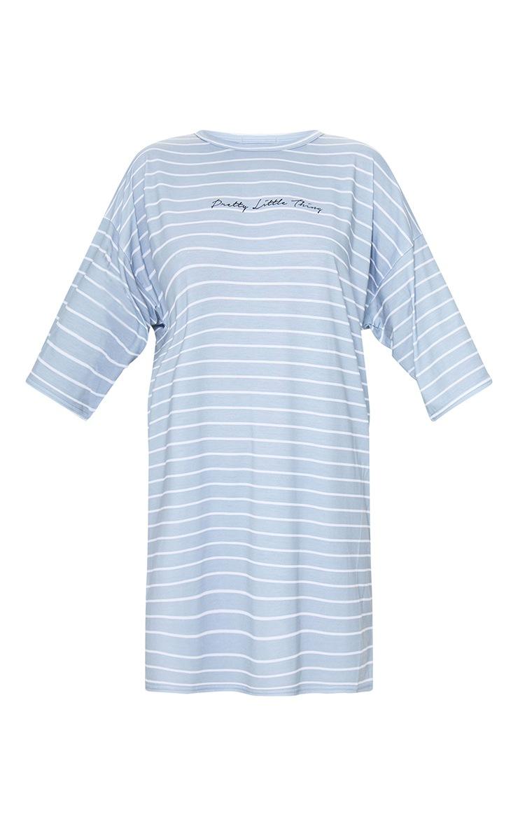 PRETTYLITTLETHING Grey Stripe Slogan Oversized Boyfriend T Shirt Dress 5