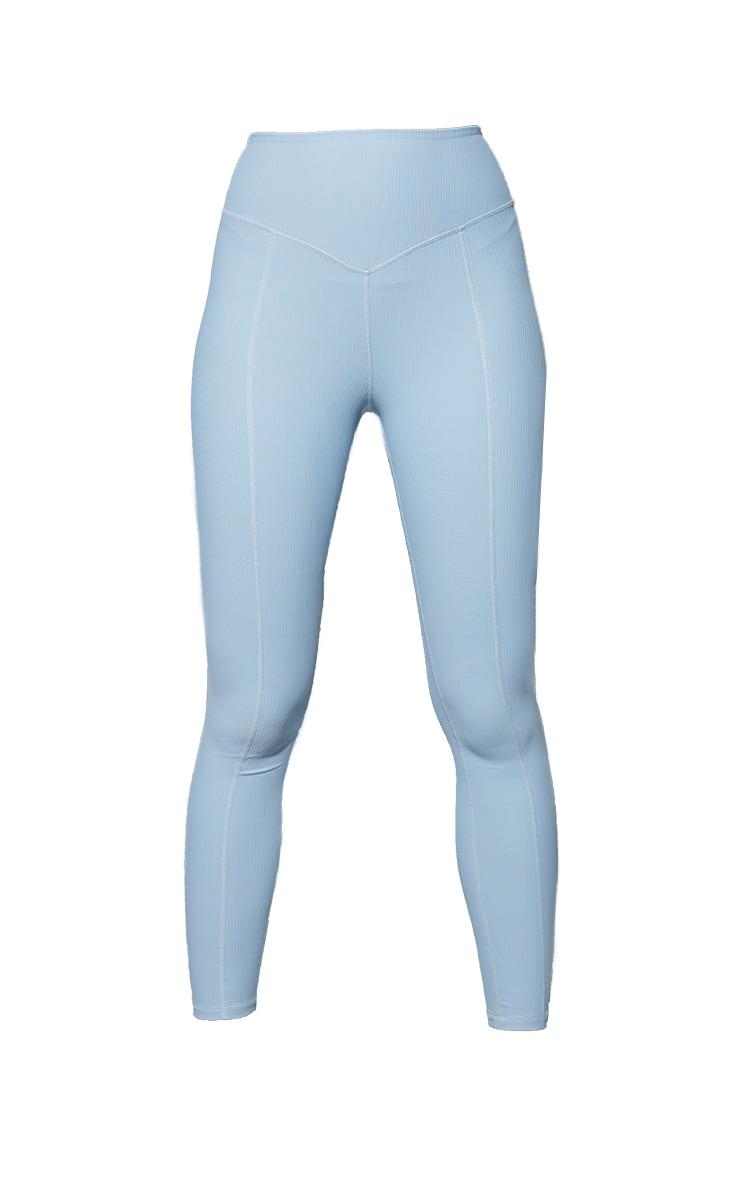 Dusky Blue Ribbed Textured Seam Detail Gym Leggings 5