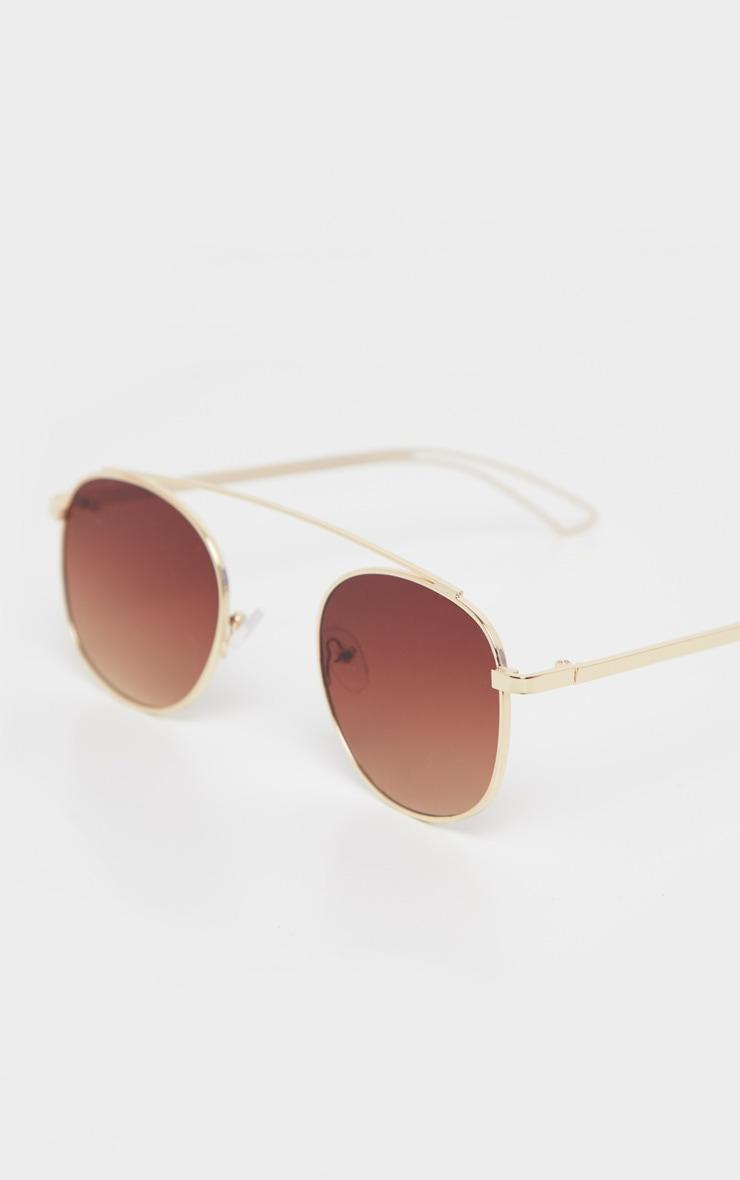 Gold Metal Brow Bar Aviator Sunglasses 3