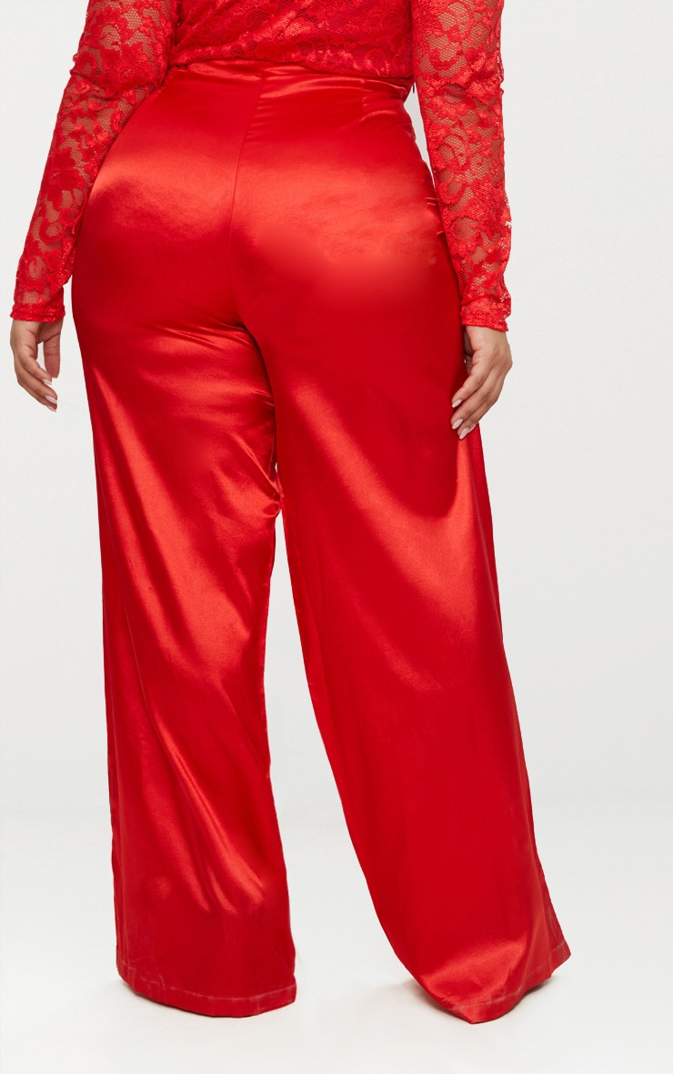 Plus Red Satin Wide Leg Trousers 3