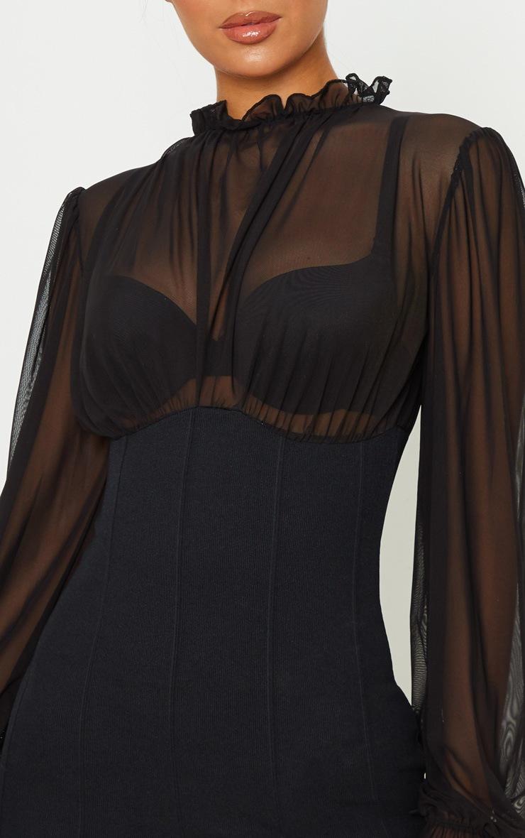 Robe moulante noire à base bandage et corsage mesh à col haut 5