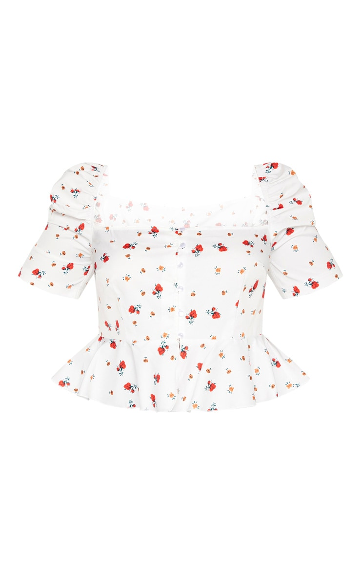 Plus White Ditsy Floral Square Neck Crop Top 3