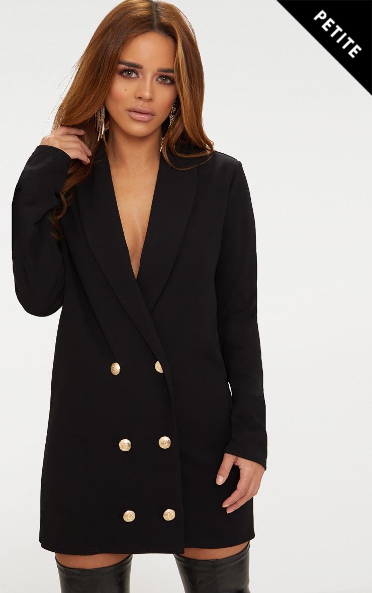 Petite Black Gold Button Blazer Dress 1