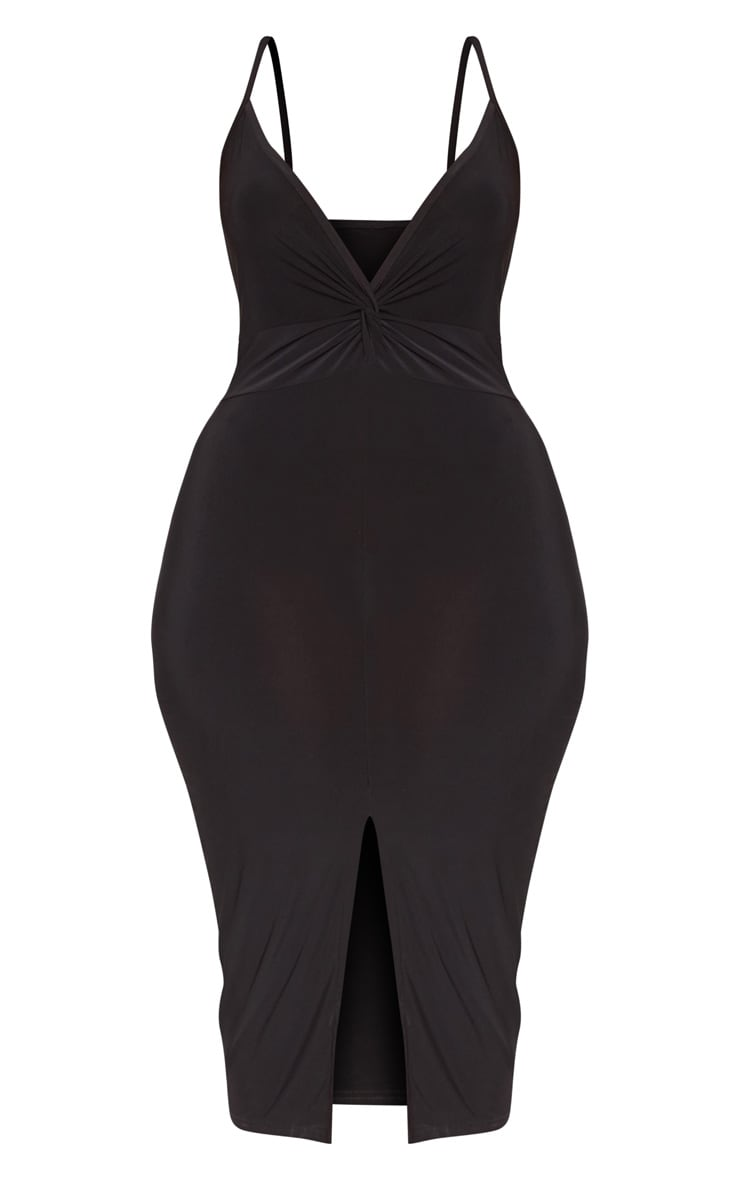Plus Black Slinky Strappy Twist Front Midi Dress 3
