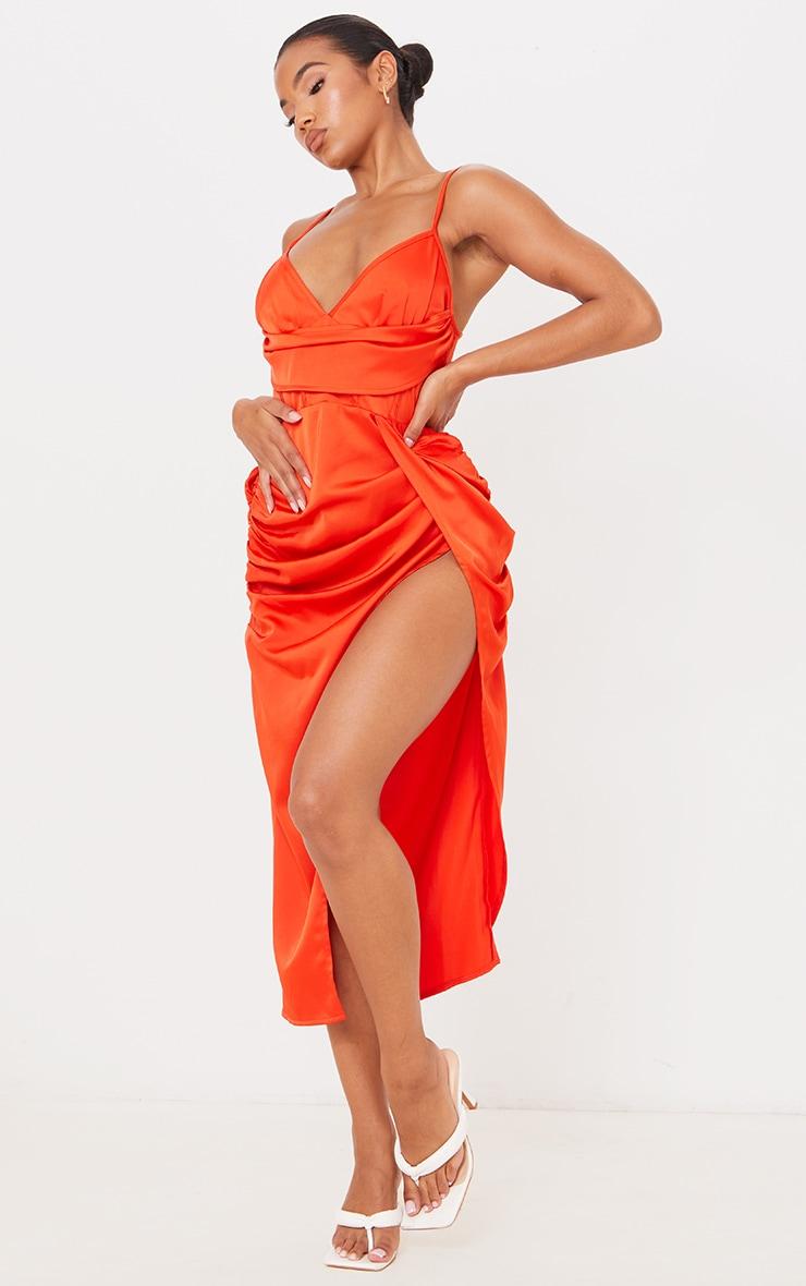 Burnt Orange Satin Strappy Drape Detail Corset Midi Dress 1