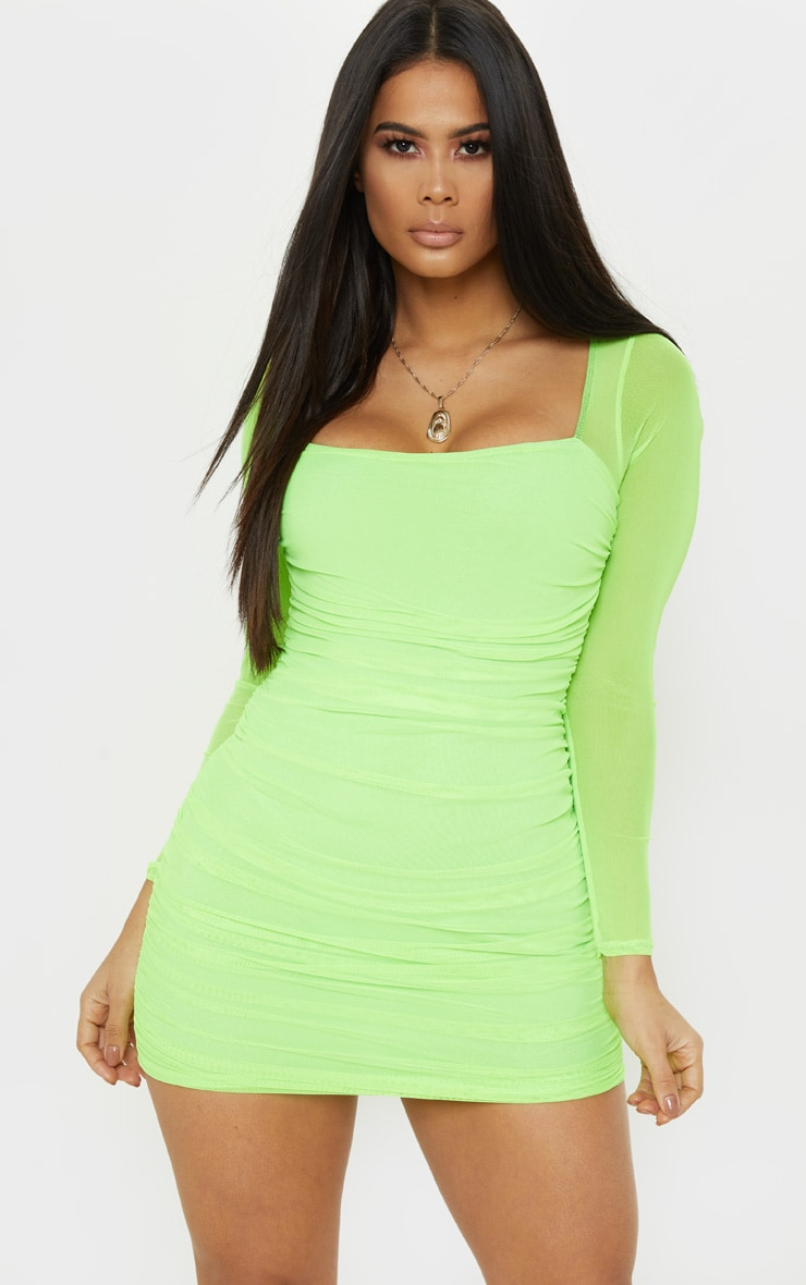 9cd425c927 Neon Lime Mesh Square Neck Ruched Bodycon Dress image 1